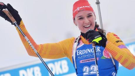 Biathletin Denise Herrmann geht beim Weltcup in Oberhof auch in der Staffel an den Start.
