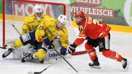 Die Chancen waren durchaus da für den ESV Kaufbeuren im Spiel gegen die Lausitzer Füchse. Hier versucht sich Kaufbeurens Sami Blomqvist (rechts) am Torschuss. Doch das bessere Ende hatten die Gäste aus der Lausitz und gewannen mit 4:2.
