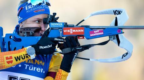 """""""Ich wusste, dass man heute gut schießen muss, wenn man keine Über-Läuferin ist."""" Vanessa Hinz, die den 7,5-Kilometer-Sprint am Mittwoch als Achte beendete."""