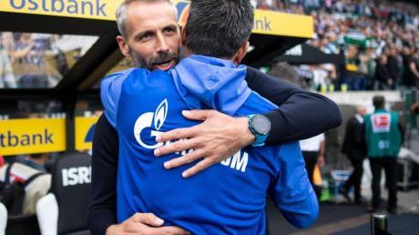 Sehen sich beim Rückrunden-Auftakt wieder: Schalke-Coach David Wagner (vorne) und Gladbachs Marco Rose.