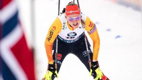 Denise Herrmann landete in der Verfolgung auf Platz sechs.