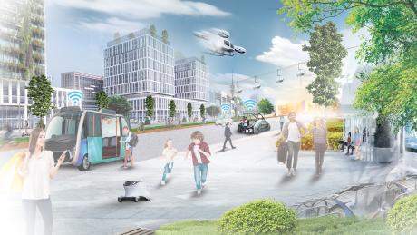 So könnte es aussehen – das München der Zukunft. Eine Stadt ohne Individualverkehr und mit innovativen Verkehrsmittel wie Seilbahnen, breiten Radwegen und einem gut ausgebauten öffentlichen Nahverkehr.