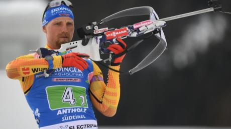 Ist als Ersatzmann zur Biathlon-WM gekommen: Erik Lesser beim Anschiessen.