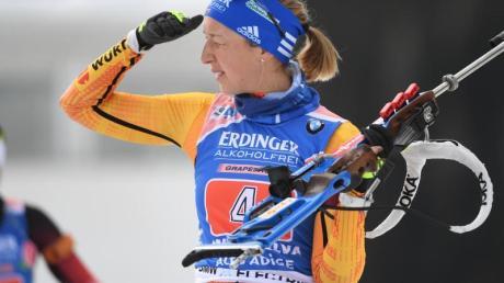 Biathletin Franziska Preuß will auch im Massenstartrennen um die WM-Medaillen mitlaufen.