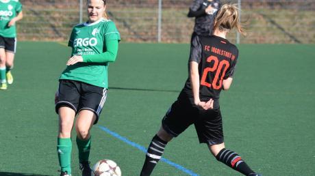 Nadine Wallner (links) erzielte kurz vor Schluss den 3:2-Siegtreffer für den SSV Anhausen im Testspiel gegen den Bayernligisten FC Ingolstadt.