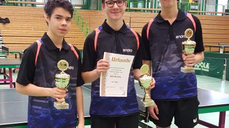 Die Merchinger Pokalsieger: (von links) Johannes Steinhart, David Galbas und David Hoksch.