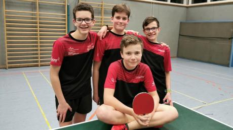 Siegte im Spitzenspiel – Aichachs drittes Jungenteam: (hinten von links) Vincent Haberer, Jonathan Pollanka, Jan Burlefinger und Elias Holl (vorne).