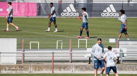 Die Bayern-Profis haben in Kleingruppen das Training auf dem Platz wieder aufgenommen.