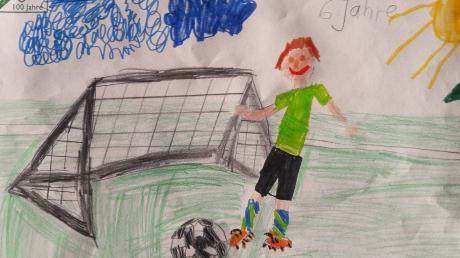 Sechs Jahre alt ist Leo Hitzler, der in der Lutzinger G-Jugend kickt. Er zeigt auf seinem Bild, wie der Ball aus der eigenen Gefahrenzone geschlagen wird.