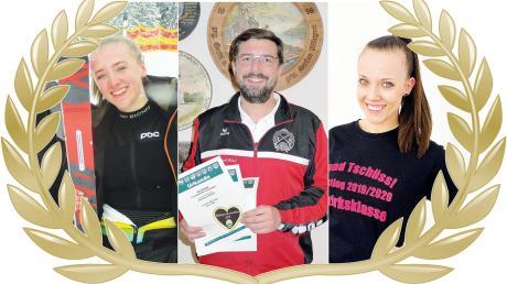 Wer wird Sportler der Monate Februar und März? Skifahrerin Anna-Sophie Sitzmann (links), Luftpistolenschütze Jörg Seckler (Mitte) oder Volleyballerin Lena Hauser (rechts)? Sie können für Ihren Favoriten abstimmen.