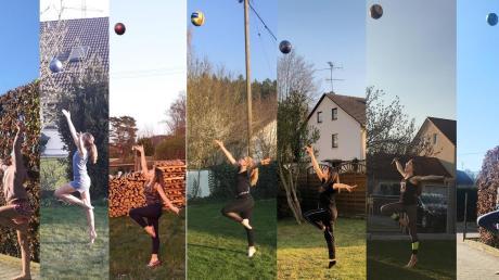 """Seit die Turnhallen geschlossen sind, trainieren die Gymnastinnen des TSV Gersthofen im heimischen Garten und bleiben somit """"am Ball"""". Damit bleibt der Sicherheitsabstand gewahrt, die Motivation erhalten und der Spaß am Sport geht nicht verloren."""