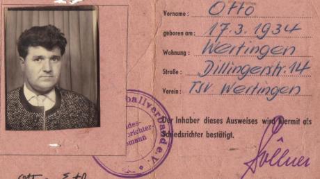 Dieser Handball-Schiedsrichterausweis von Otto Ertl aus Wertingen wurde im Mai 1957 ausgestellt.