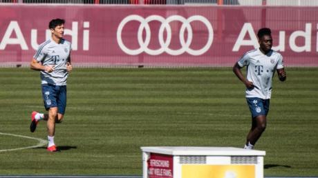 Training mit Abstand: Die Bayern-Profis Robert Lewandowski (l) und Alphonso Davies.