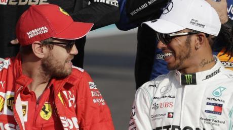 2021 Teamkollegen?:Sebastian Vettel (l) und Lewis Hamilton.