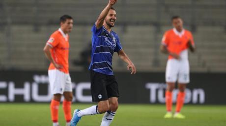Erzielte in Bielefeld den einzigen Treffer: Arminia-Profi Manuel Prietl (M.).