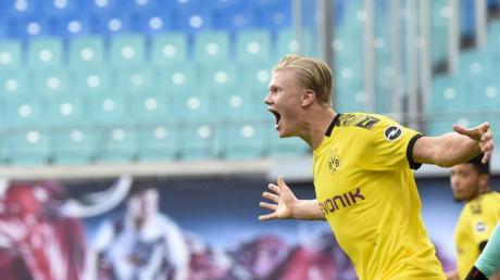 Erling Haaland erzielte beide Treffer der Dortmunder in Leipzig.
