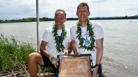 Andreas Voss (links) und Martin Kühl haben die Halbdistanz für den abgesagten Ironman auf Hawaii jetzt einfach am Ammersee beim Ammerman zurückgelegt.