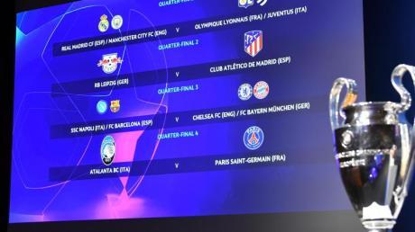 Ein Blick auf die Anzeige mit den Begegnungen für das Viertelfinale der Champions League.