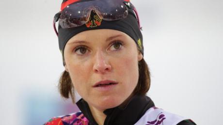 Wurde 2014 wegen einer positiven Dopingprobe aus dem deutschen Biathlon-Team ausgeschlossen: Evi Sachenbacher-Stehle.