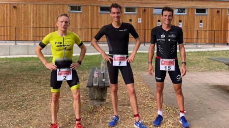 Die drei Schnellsten in Oettingen (von links): Fabian Eisenlauer (2.), Lokalmatador und Sieger Timo Schmitz sowie Joachim Krauth (3.).