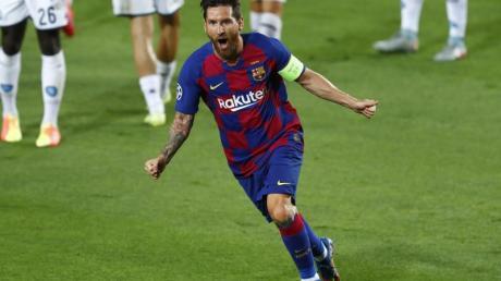 Lionel Messi bejubelt sein Tor zum 2:0 für den FC Barcelona gegen den SSC Neapel.