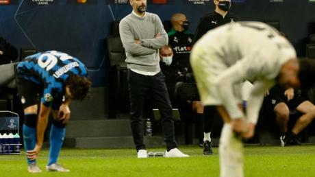 Ein Punkt im Stadion Giuseppe Meazza:Mönchengladbachs Trainer Marco Rose (2.v.r) ist zufrieden.