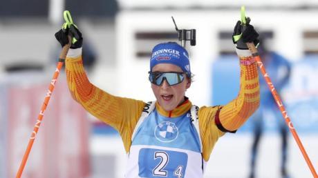 Franziska Preuß kam mit der deutschen Staffel auf Rang zwei.