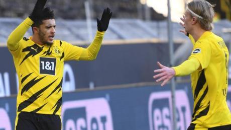 Jadon Sancho (l) und Erling Haaland retteten dem BVB einen Punkt gegen Hoffenheim.