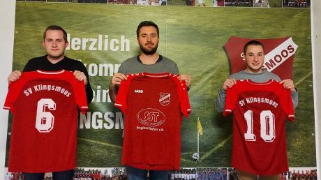 Das Trainer-Gespann des SV Klingsmoos (von links) Johannes Kranner, Thomas Böld und Marco Veitinger.