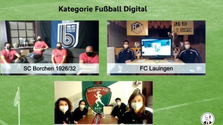 """Der FC Lauingen stand in der """"Endauslosung"""" gegen Konkurrenz aus Borchen und Berlin. Auf Rang eins schaffte es der Frauen-Sportverein Moabit, die Nordschwaben erreichten bundesweit Platz drei der Kategorie """"Fußball Digital""""."""
