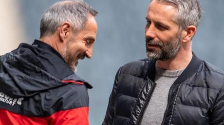 Trainer, die dank Ausstiegsklauseln den Verein wechseln können: Adi Hütter (l) und Marco Rose.