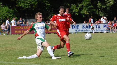 Julian Nagelsmann (links) im Juli 2002 im Trikot des FC Augsburg II im Spiel gegen den TSV Aindling (hier mit Florian Honisch).