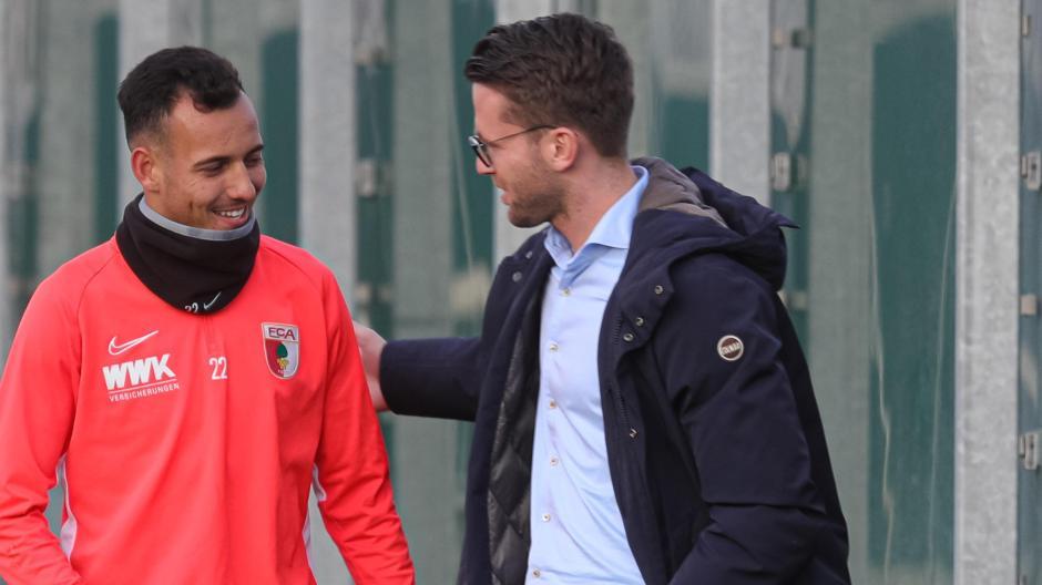 Timon Pauls (rechts) und Iago vor einem Training im November 2019. Im Sommer zuvor war der Brasilianer zum FCA gewechselt.