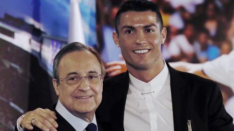 Beste Freunde für die Fotografen: Real-Präsident Florentino Perez und Cristiano Ronaldo.