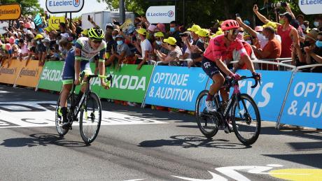 Der größte Erfolg von Georg Zimmermann in seiner bisherigen Radprofi-Karriere: Der 23-Jährige belegt bei der 19. Etappe hinter Michael Valgren (rechts) Platz acht.