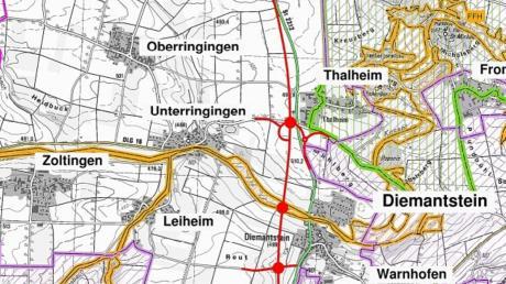 So sieht der erste Planentwurf der Ortsumfahrung Diemantstein aus. Details werden im späteren Verfahren festgelegt.