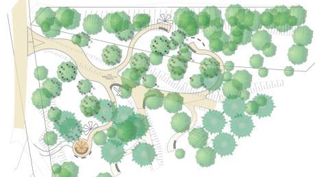 Dieser Vorentwurf vom Planungsbüro zeigt, wie der Holzheimer Friedhof aussehen soll. Aus der Vogelperspektive erinnert die Anlage, von links gesehen, selbst an einen Baum.