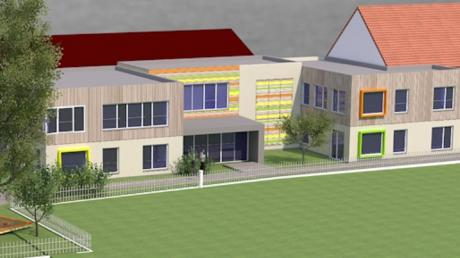 So sieht die 3D-Darstellung des Entwurfes zur Erweiterung des Kindergartens in Mörslingen aus. Gestaltet hat sie das Dillinger Büro Asco-Team.