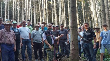 Rund 30 Teilnehmer ließen sich von den Forstleuten Johann Stuhlenmiller, Felicitas Lunzner und Marc Koch (Bildmitte) in Sachen Borkenkäferbekämpfung im Wald östlich von Zusamaltheim schulen.