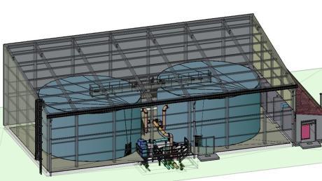 So sieht der Entwurf des neuen Oberthürheimer Hochbehälters aus. Der Ingenieur des beauftragten Büros stellte die Planung dem Buttenwiesener Gemeinderat vor. Die Kosten belaufen sich inklusive der Nebenkosten während der Baumaßnahme auf rund 3,8 Millionen Euro.