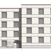 So soll das Gebäude an der Kanalstraße einmal aussehen – die Ebenen sind versetzt angeordnet, um das Gebäude weniger wuchtig erscheinen zu lassen. Insgesamt sollen 16 Wohnungen am Laugnaplatz entstehen.