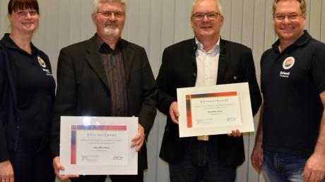 Hubert Kapfer und Robert Gumpp (Zweiter und Dritter von links) sind neue Ehrenmitglieder des Musikvereins Binswangen. Ihnen gratulierten Zweite Vorsitzende Martina Kraus und Vorsitzender Roland Wagner.