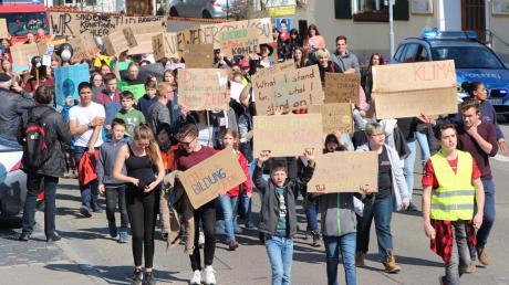 """In Wertingen fanden im vergangenen Jahr mehrere Demonstrationen der """"Fridays for Future""""-Bewegung statt. Corona hat auch die Jugendbewegung ausgebremst – doch der Klimawandel ist laut Meteorologen auch in diesem warmen November deutlich sichtbar."""