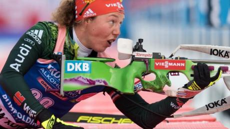 Laura Dahlmeier beim Schießen in Ruhpolding. Foto: Sven Hoppe