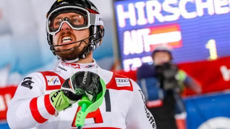 Marcel Hirscher jubelt in Schladming über seinen 54. Weltcup-Sieg seiner Karriere. Foto: Expa/Johann Groder