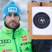 Biathlon Co-Trainer Tobias Reiter hält beim Training eine Scheibe von Franziska Preuß hoch. Foto: Sven Hoppe