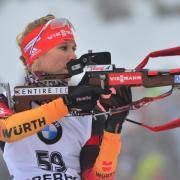 Biathletin Karolin Horchler gewinnt zum Auftakt der deutschen Biathlon-Meisterschaften den Sprint-Titel. Foto: Martin Schutt/Archiv