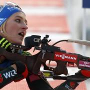 Anna Weidel steht auch in Hochfilzen im deutschen Biathlon-Weltcup-Team. Foto: Darko Bandic/AP