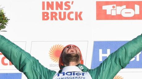 Markus Eisenbichler freut sich über sein bisher größten Einzelerfolg in seiner Karriere. Foto: Hendrik Schmidt