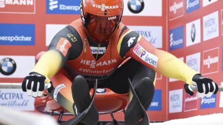 Rodler Felix Loch beim Start in Sotschi. Rodel-WM 2020: Termine, Zeitplan und Live-TV. Rennrodel-Weltmeisterschaft live in Fernsehen und Stream.